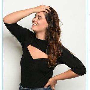 FINAL PRICE Cut! Sexy & Slinky Black Plus Bodysuit